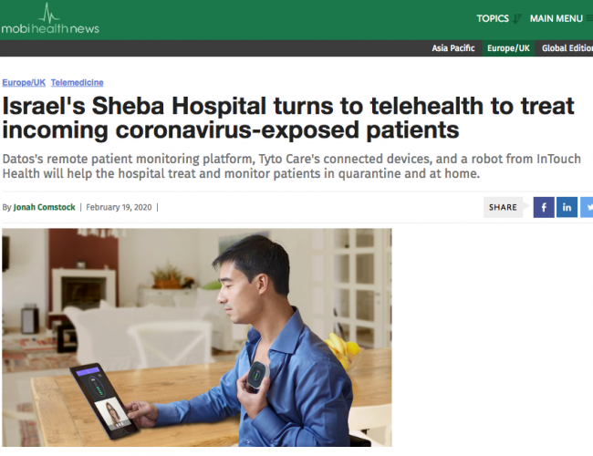Israel's Sheba Hospital turns to telehealth to treat incoming coronavirus-exposed patients